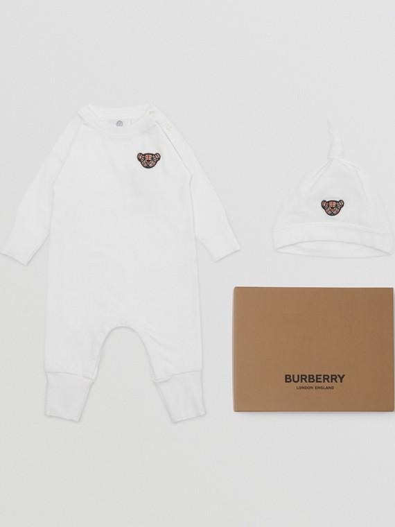Thomas Bear Motif Cotton Two-piece Baby Gift Set in White