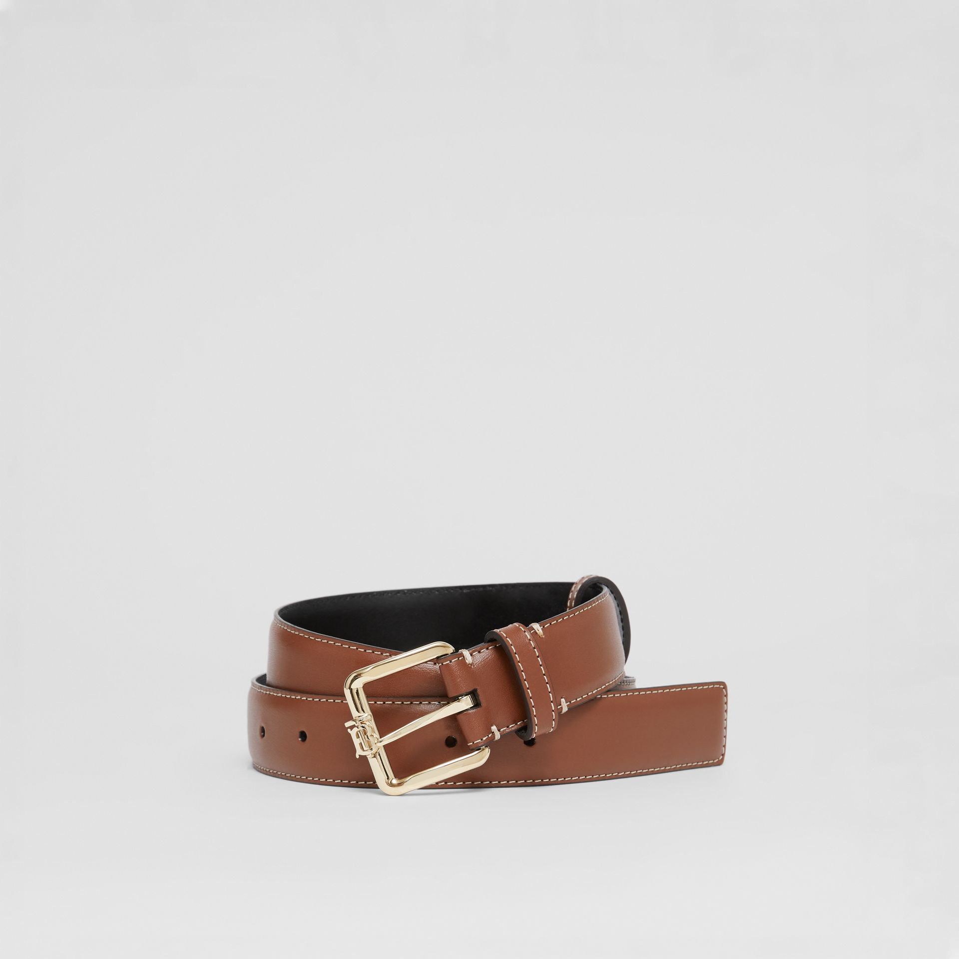 Monogram Motif Topstitched Leather Belt in Tan/light Gold - Women | Burberry - gallery image 0