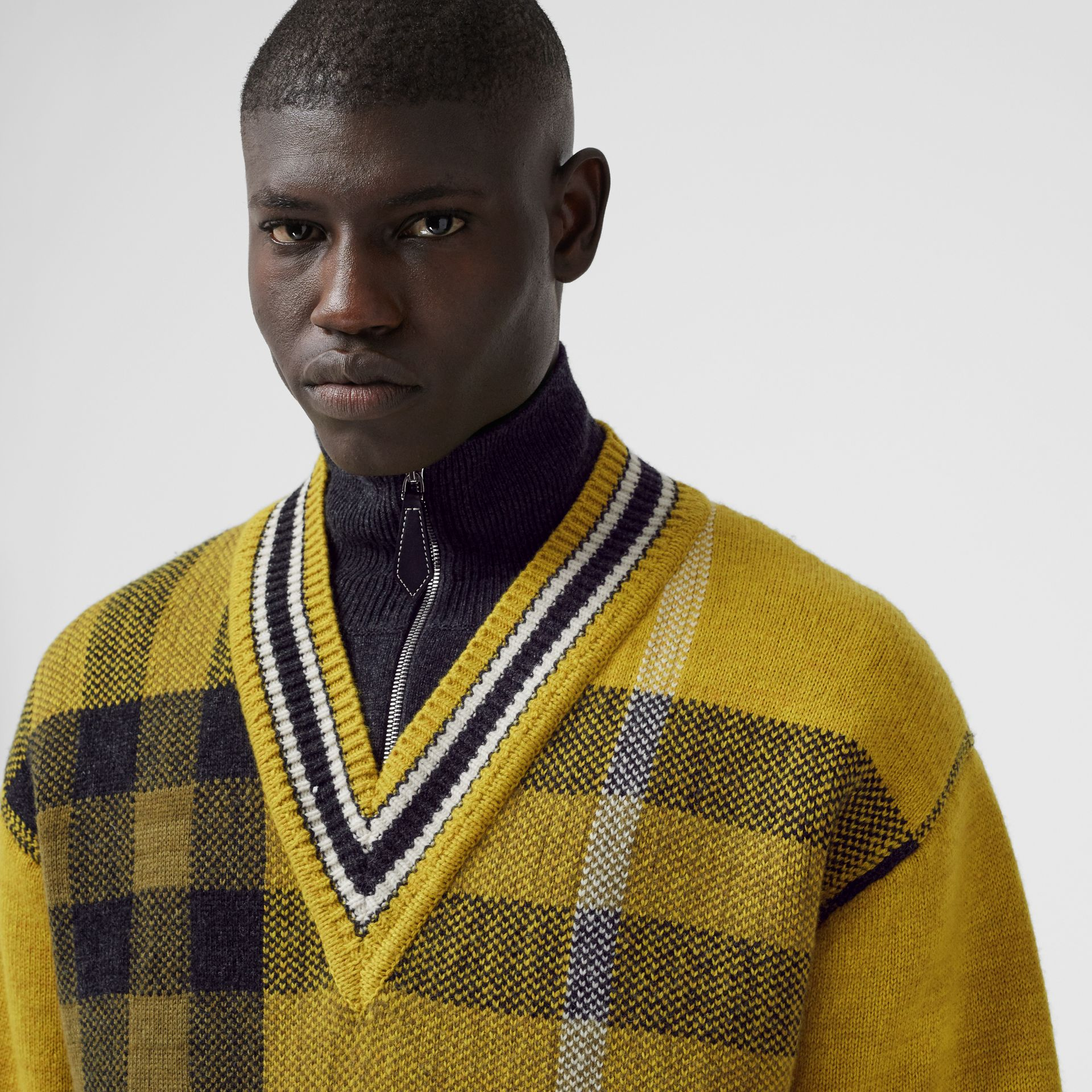 Check Wool Cashmere Jacquard Sweater in Bright Yellow - Men | Burberry - gallery image 1