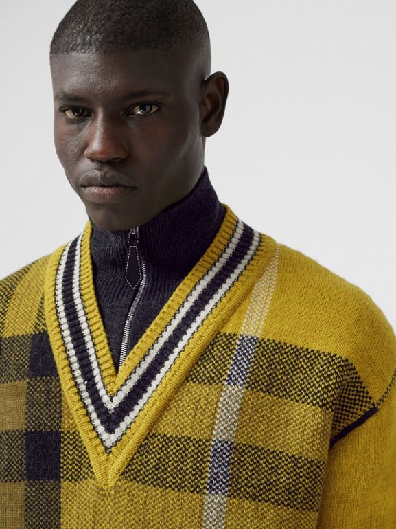 Check Wool Cashmere Jacquard Sweater in Bright Yellow - Men | Burberry - cell image 1