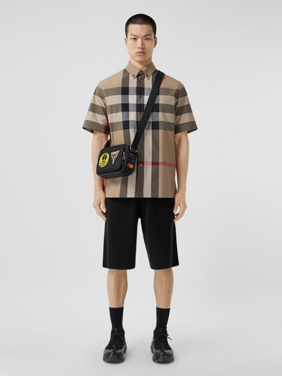 Camicia a maniche corte in cotone con motivo tartan (Beige Archivio)