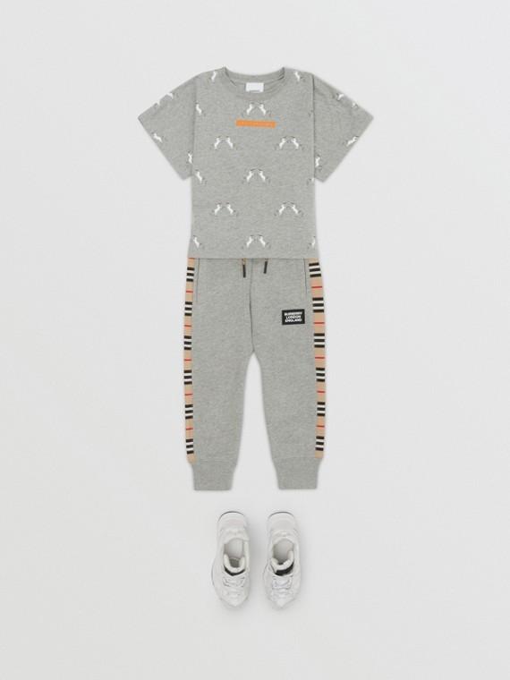 Icon Stripe Panel Cotton Jogging Pants in Grey Melange