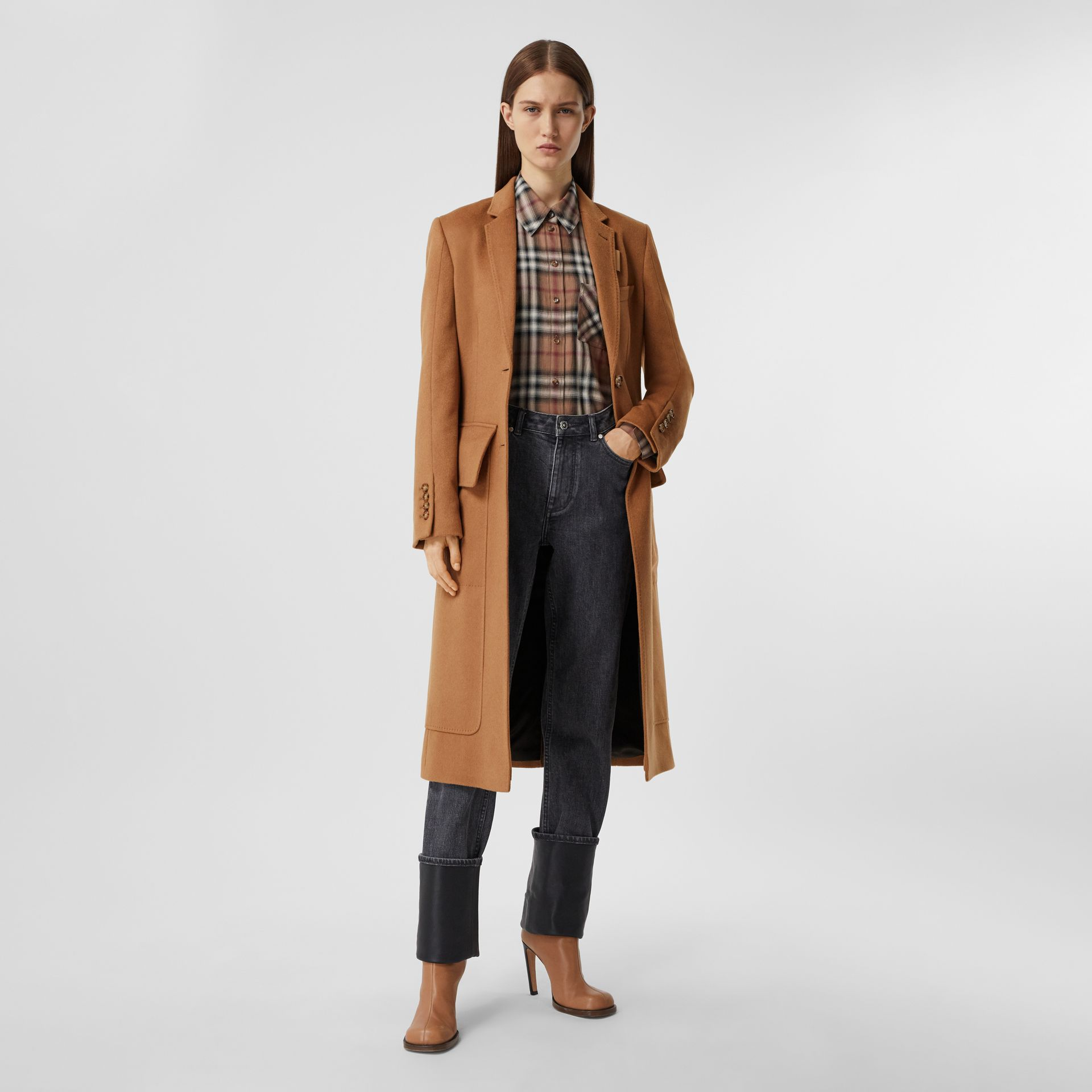 Cashmere Tailored Coat in Bronze - Women | Burberry - gallery image 0