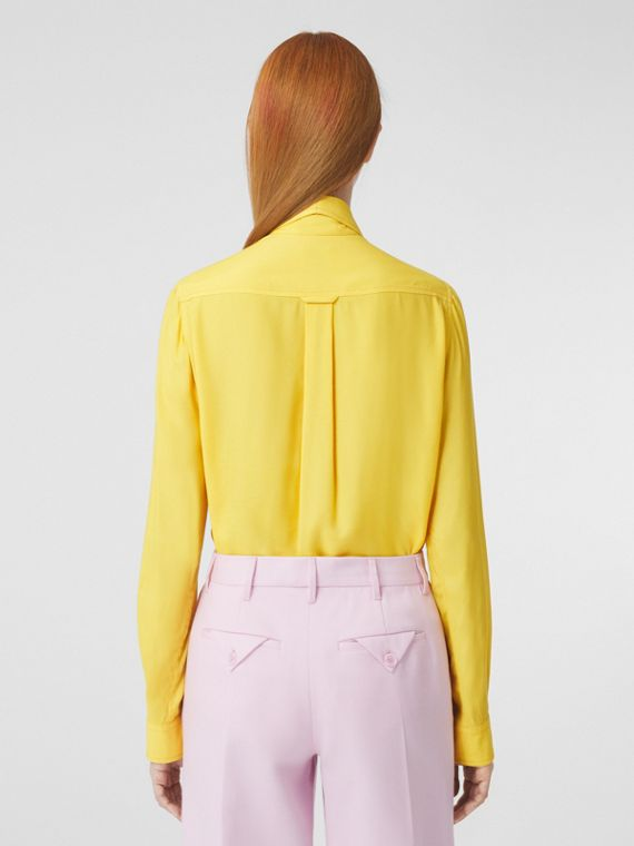 Polished Chain Detail Satin Shirt in Pale Tulip Yellow