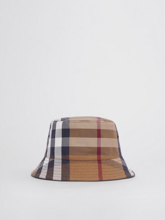 Check Cotton Canvas Bucket Hat in Birch Brown