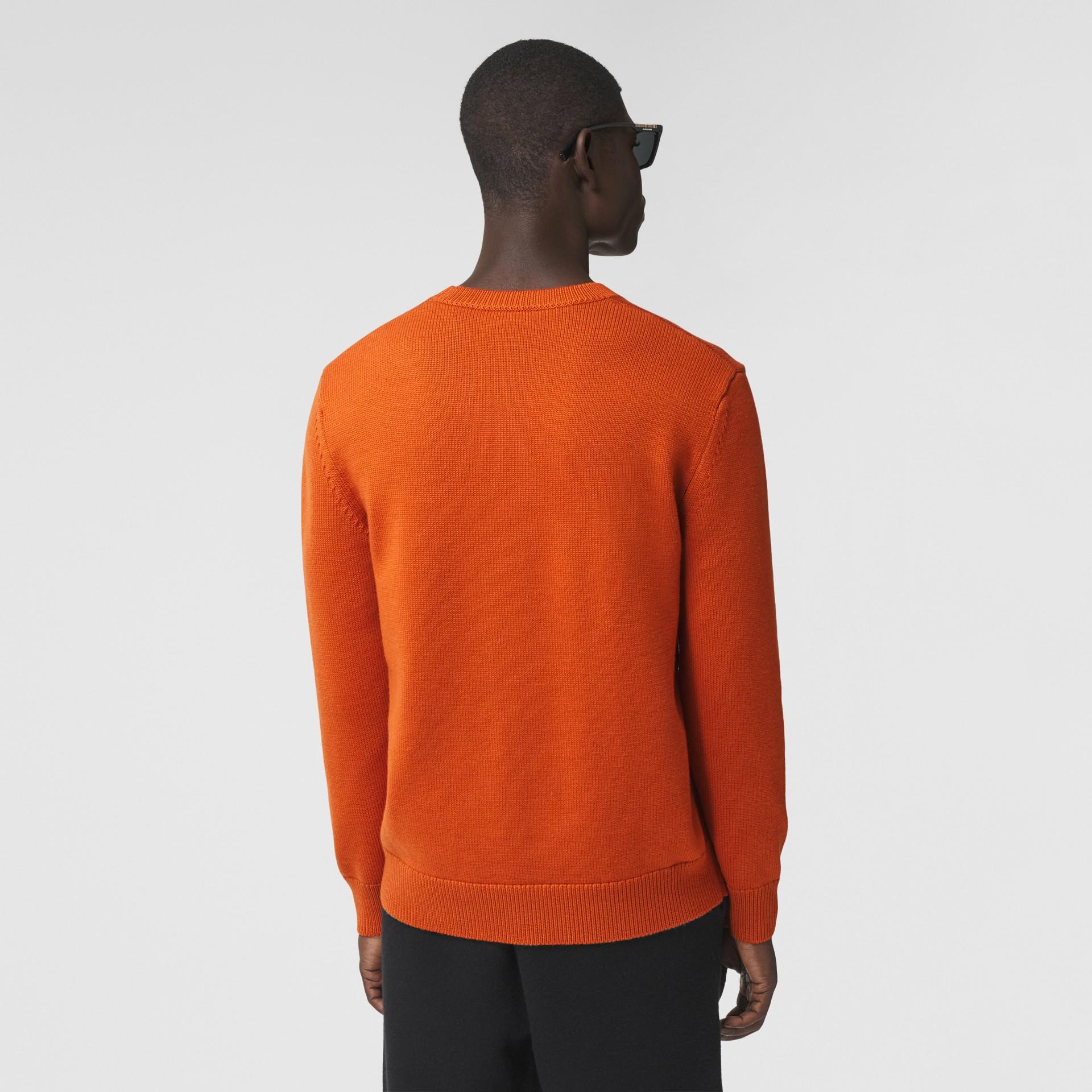 Varsity Graphic Merino Wool Jacquard Sweater in Burnt Orange - Men   Burberry - gallery image 2