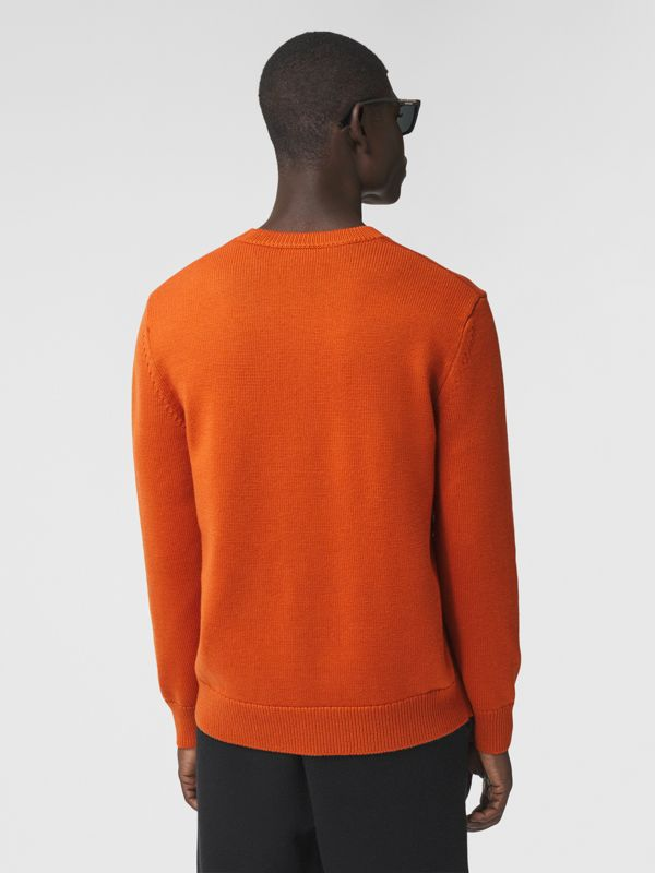 Varsity Graphic Merino Wool Jacquard Sweater in Burnt Orange - Men   Burberry - cell image 2
