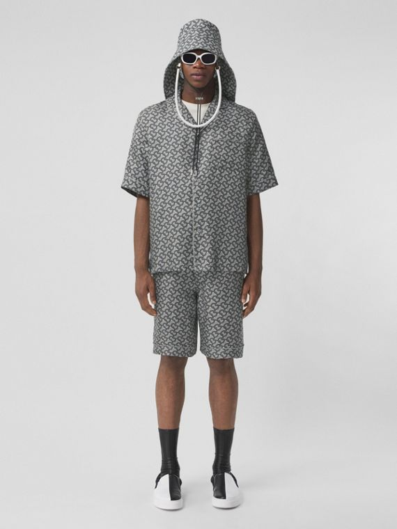Short-sleeve Monogram Print Silk Shirt in Mid Grey