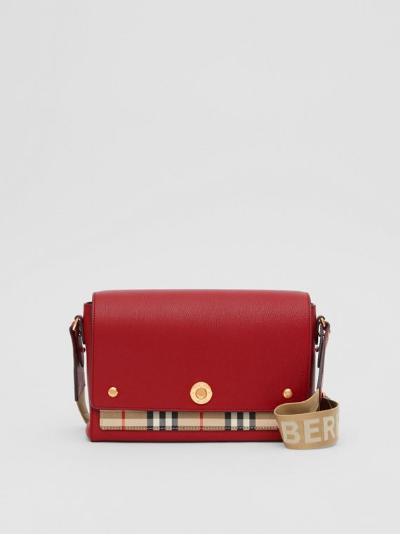 Leather and Vintage Check Note Crossbody Bag in Dark Carmine
