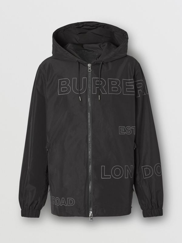 Horseferry Print Shape-memory Taffeta Hooded Jacket in Black - Men | Burberry - cell image 3