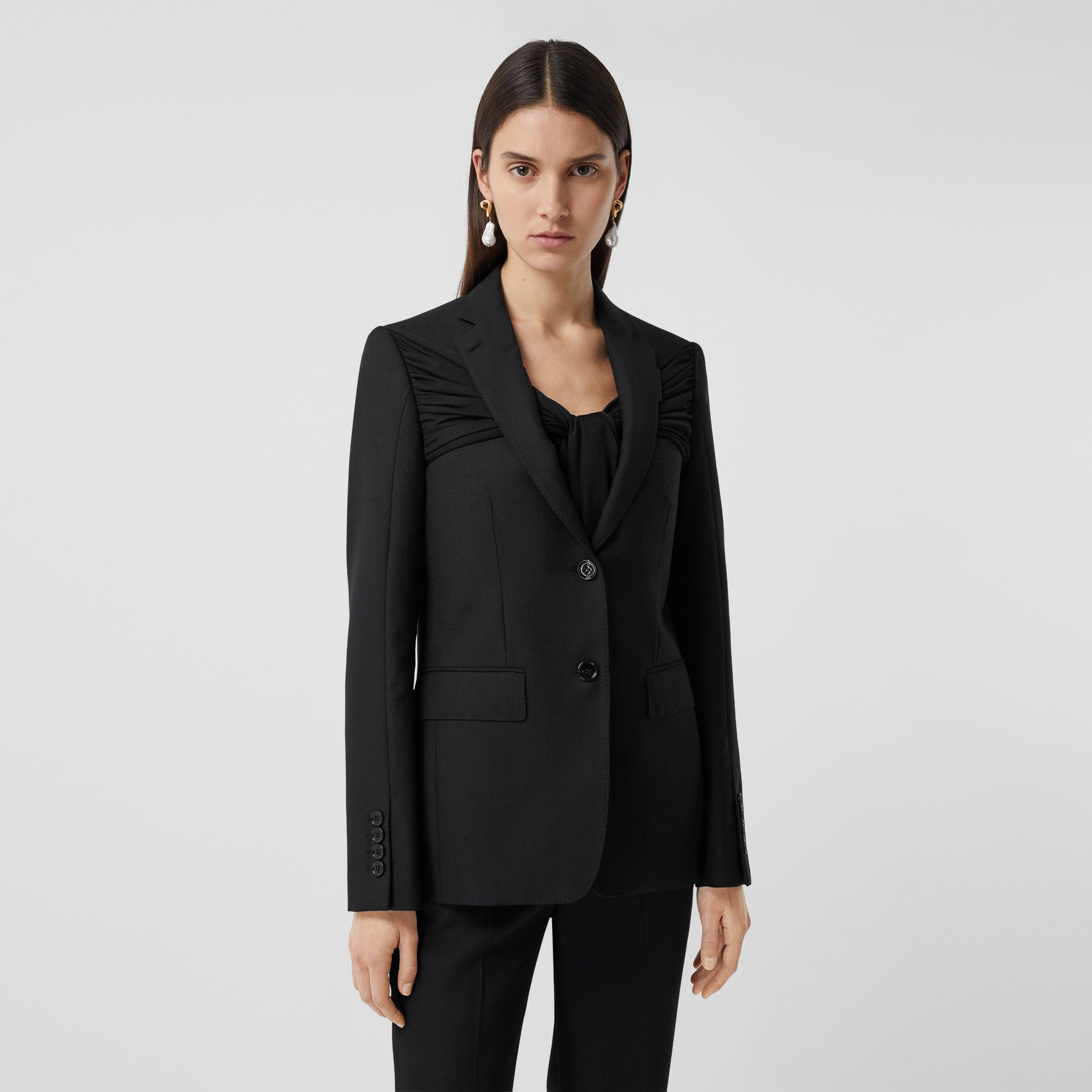 Jersey Sash Detail Wool Tailored Jacket in Black - Women | Burberry - gallery image 5