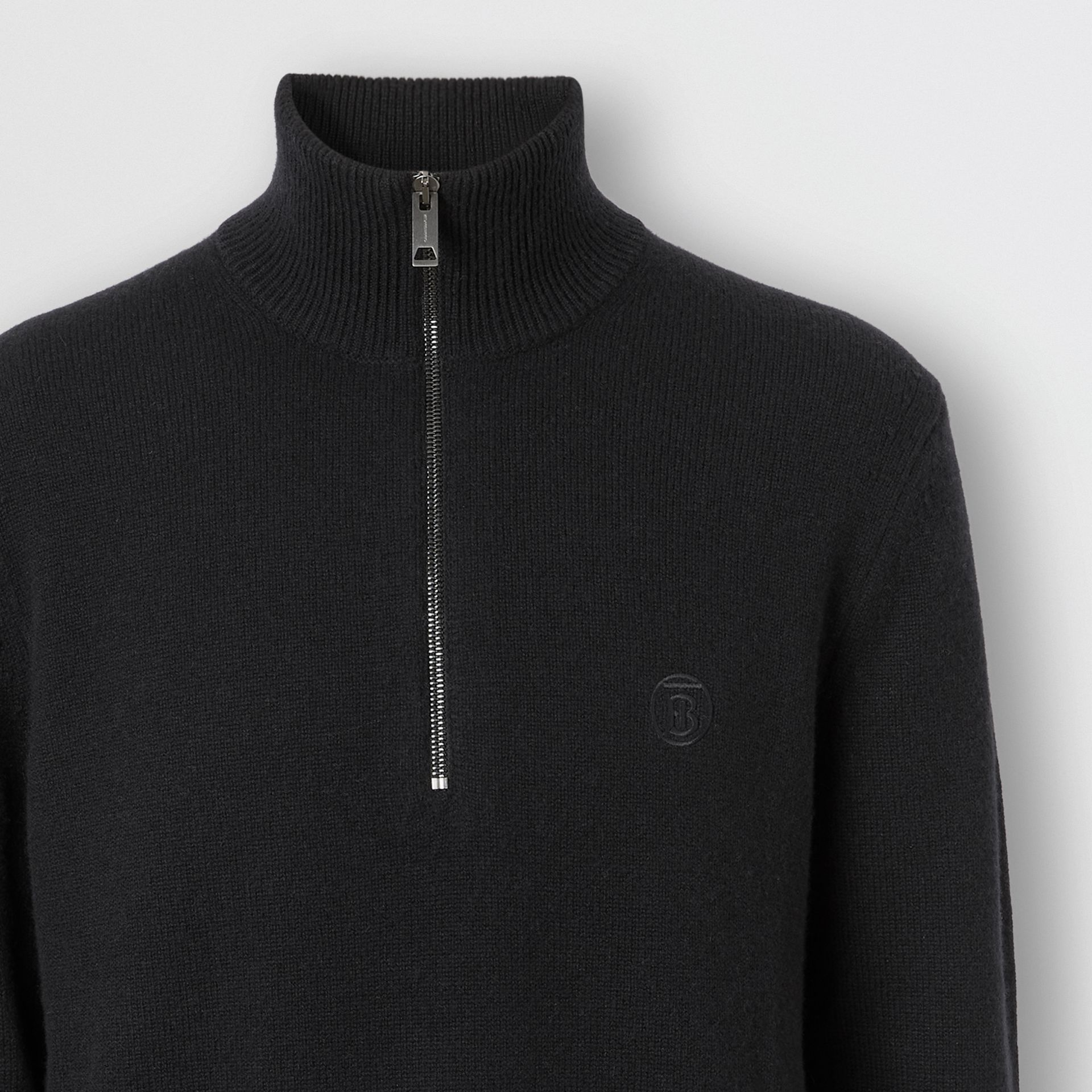 Monogram Motif Cashmere Funnel Neck Sweater in Black - Men | Burberry - gallery image 5