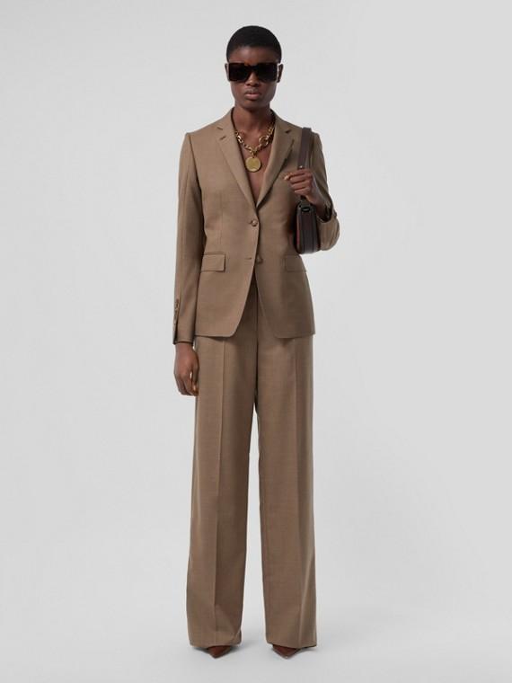 Calças estilo pantalona de lã (Taupe Escuro)