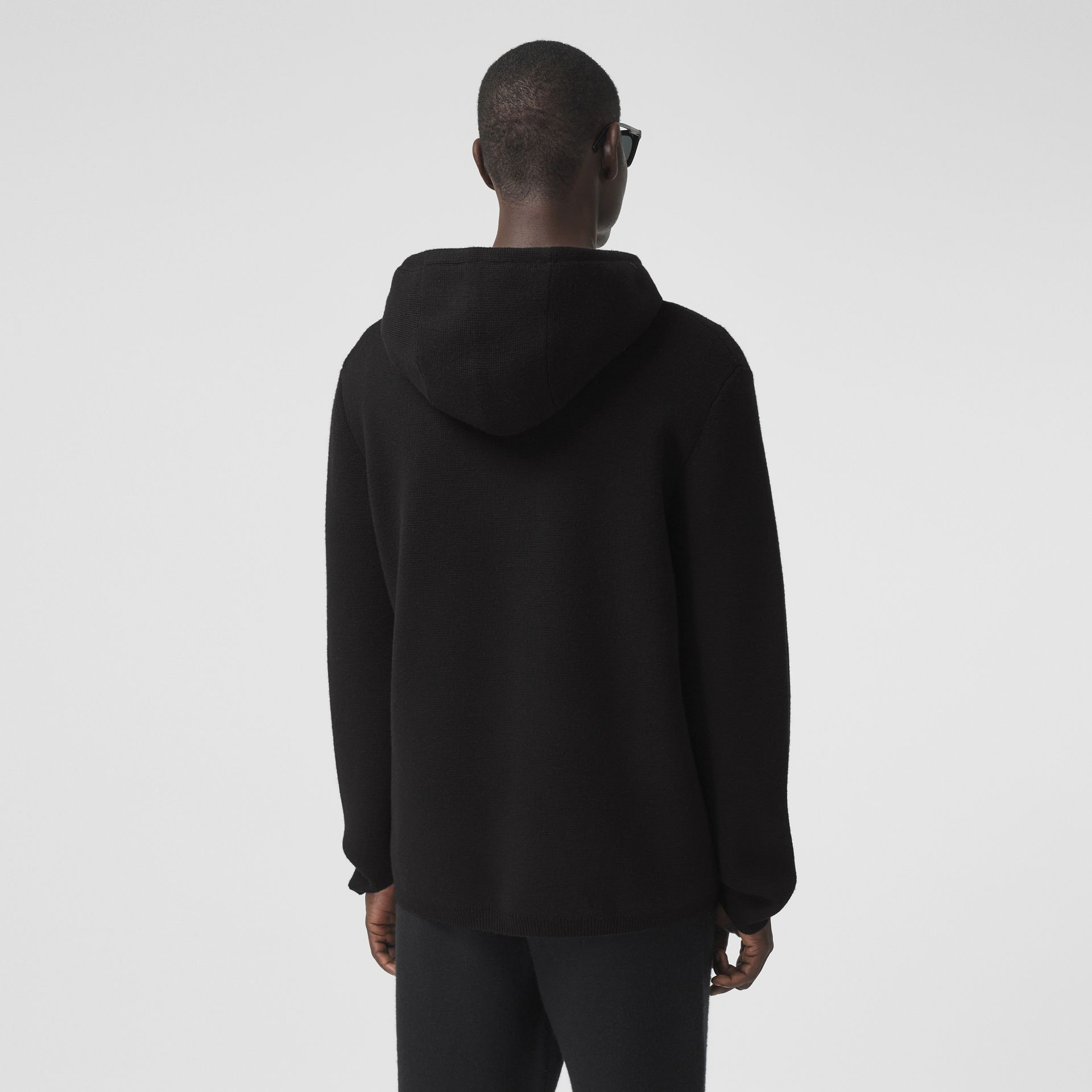 Contrast Pocket Wool Hooded Top in Black - Men | Burberry - gallery image 2