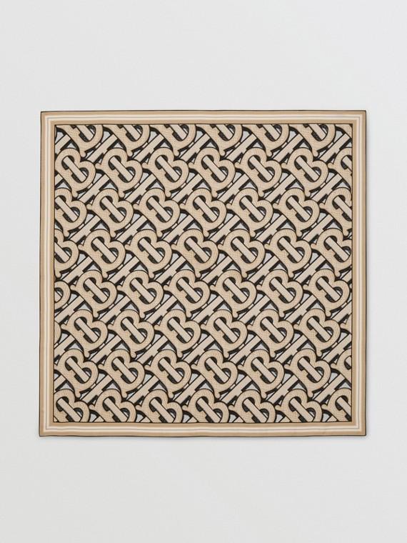 Monogram Print Silk Square Scarf in Dark Beige