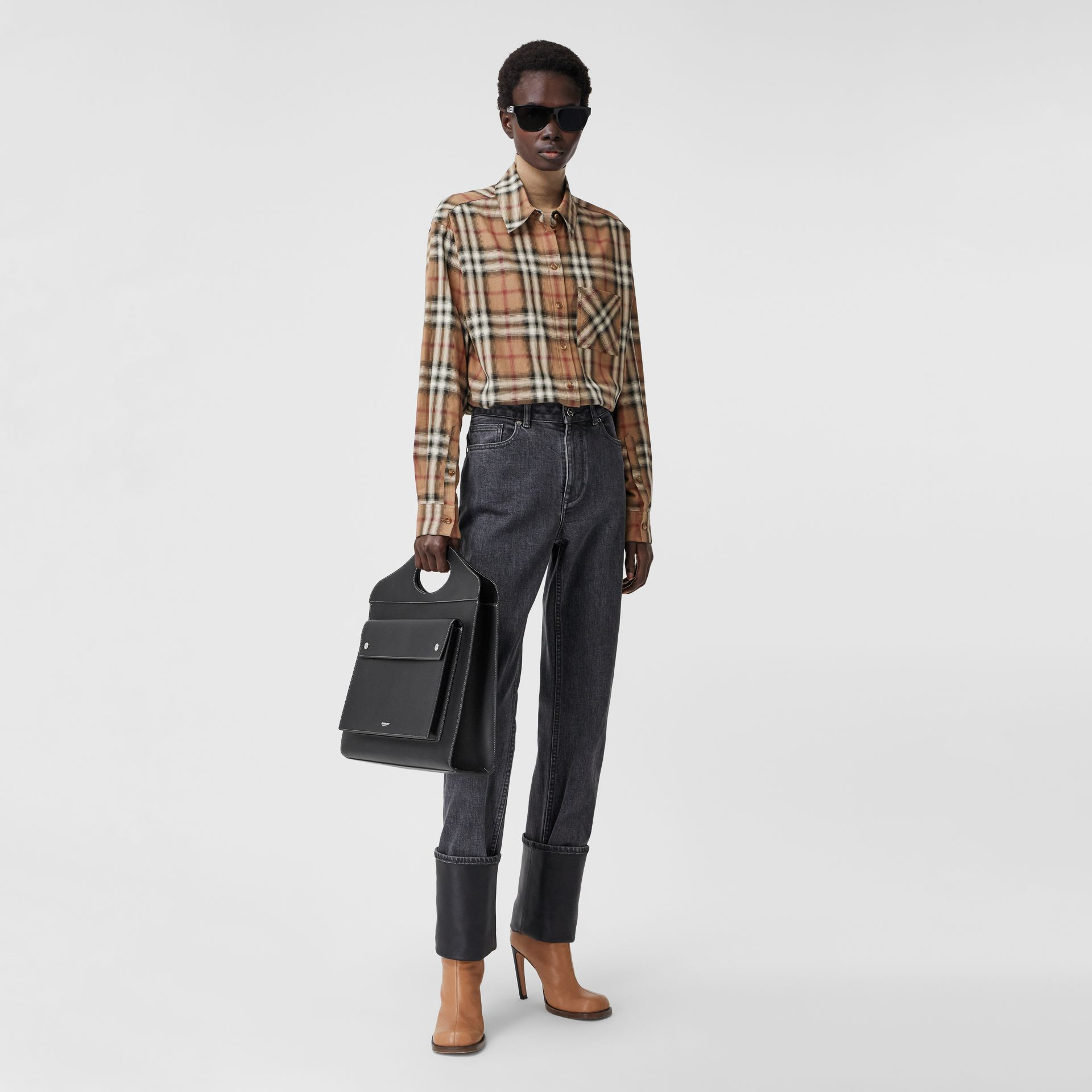 Ombré Check Cotton Twill Oversized Shirt in Birch Brown - Women | Burberry - gallery image 0