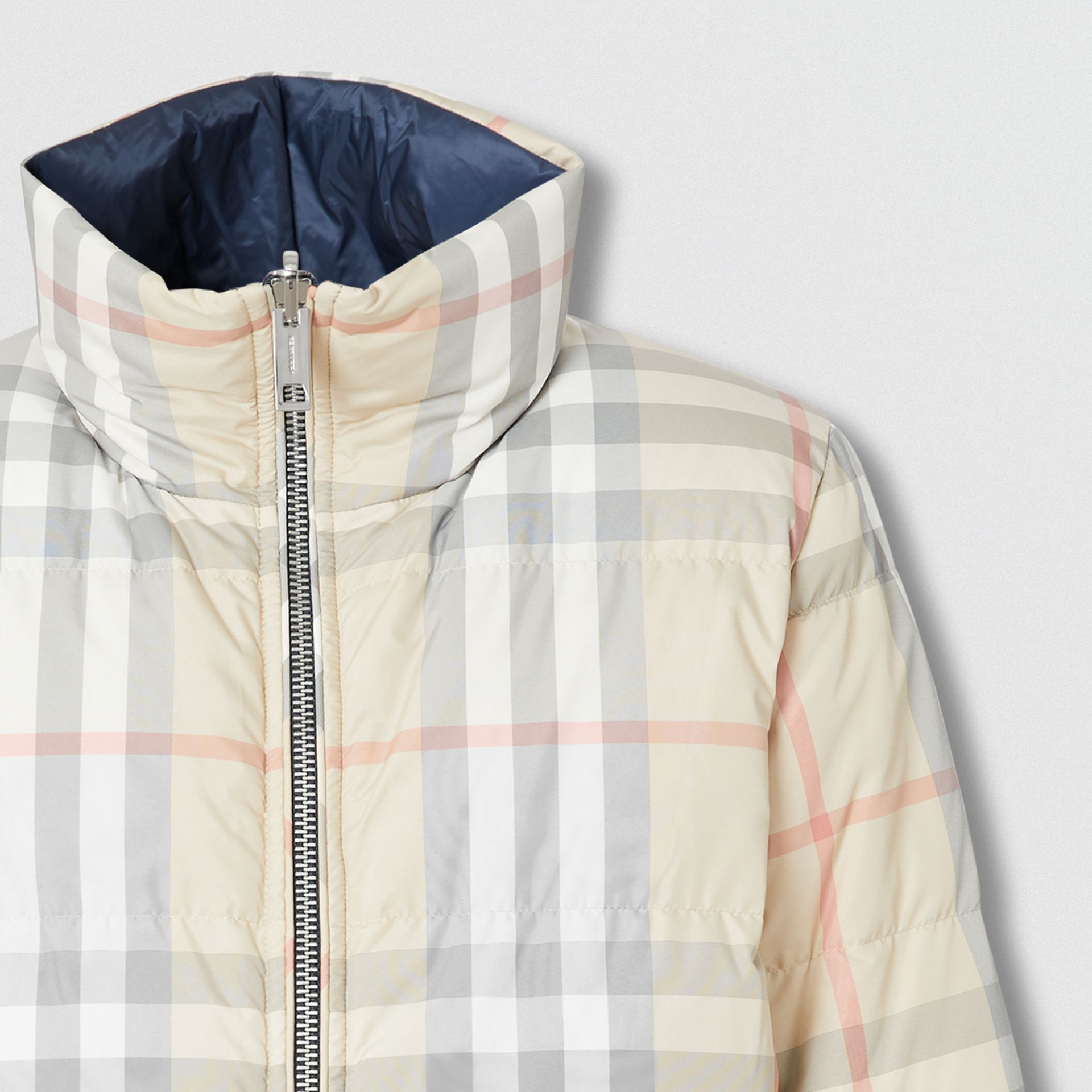 Reversible Check Puffer Jacket in Navy - Women | Burberry - gallery image 1