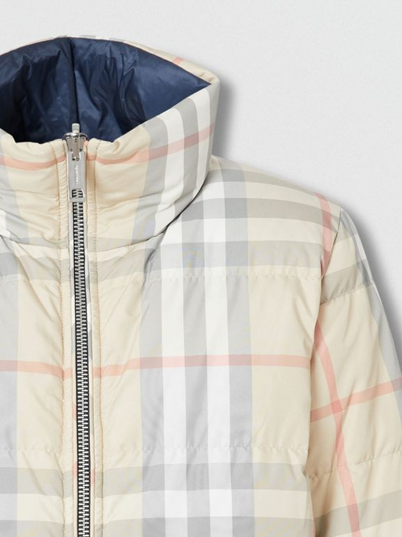 Reversible Check Puffer Jacket in Navy - Women | Burberry - cell image 1