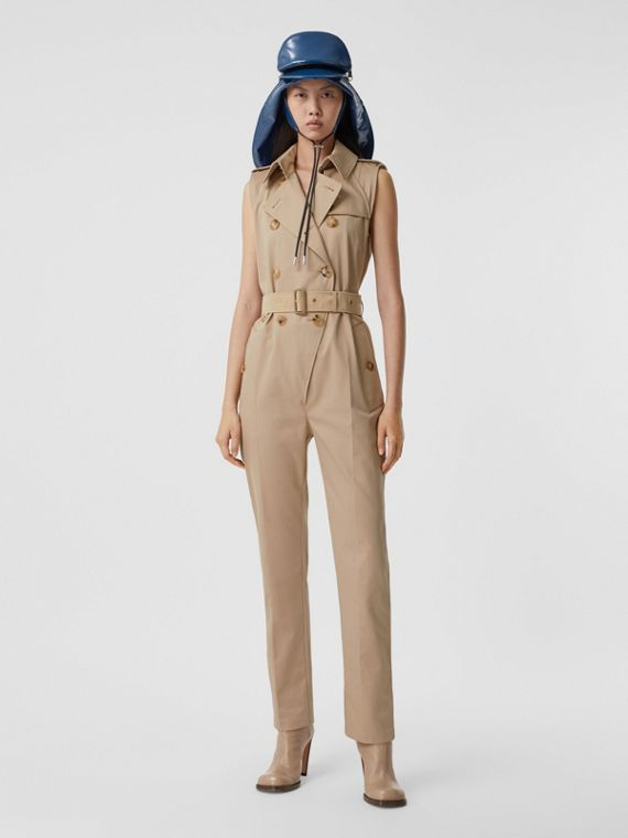 Sleeveless Cotton Gabardine Trench Jumpsuit in Soft Fawn