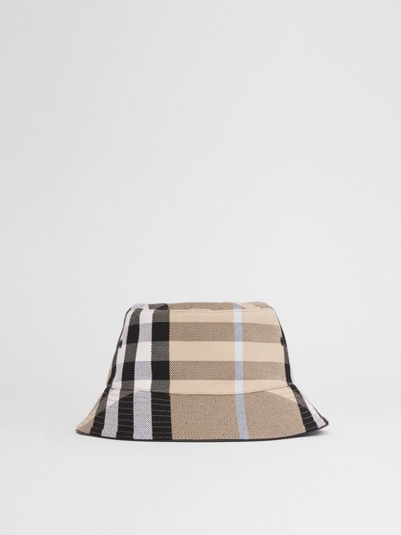 Check Cotton Jacquard Bucket Hat in Dusty Sand