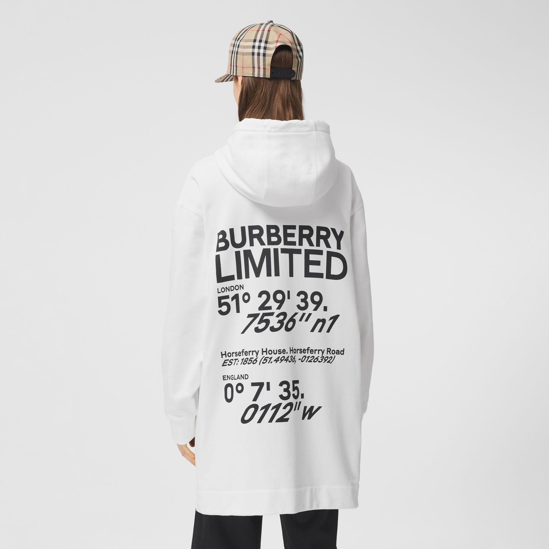Coordinates Print Cotton Oversized Hoodie in White - Women | Burberry - gallery image 5