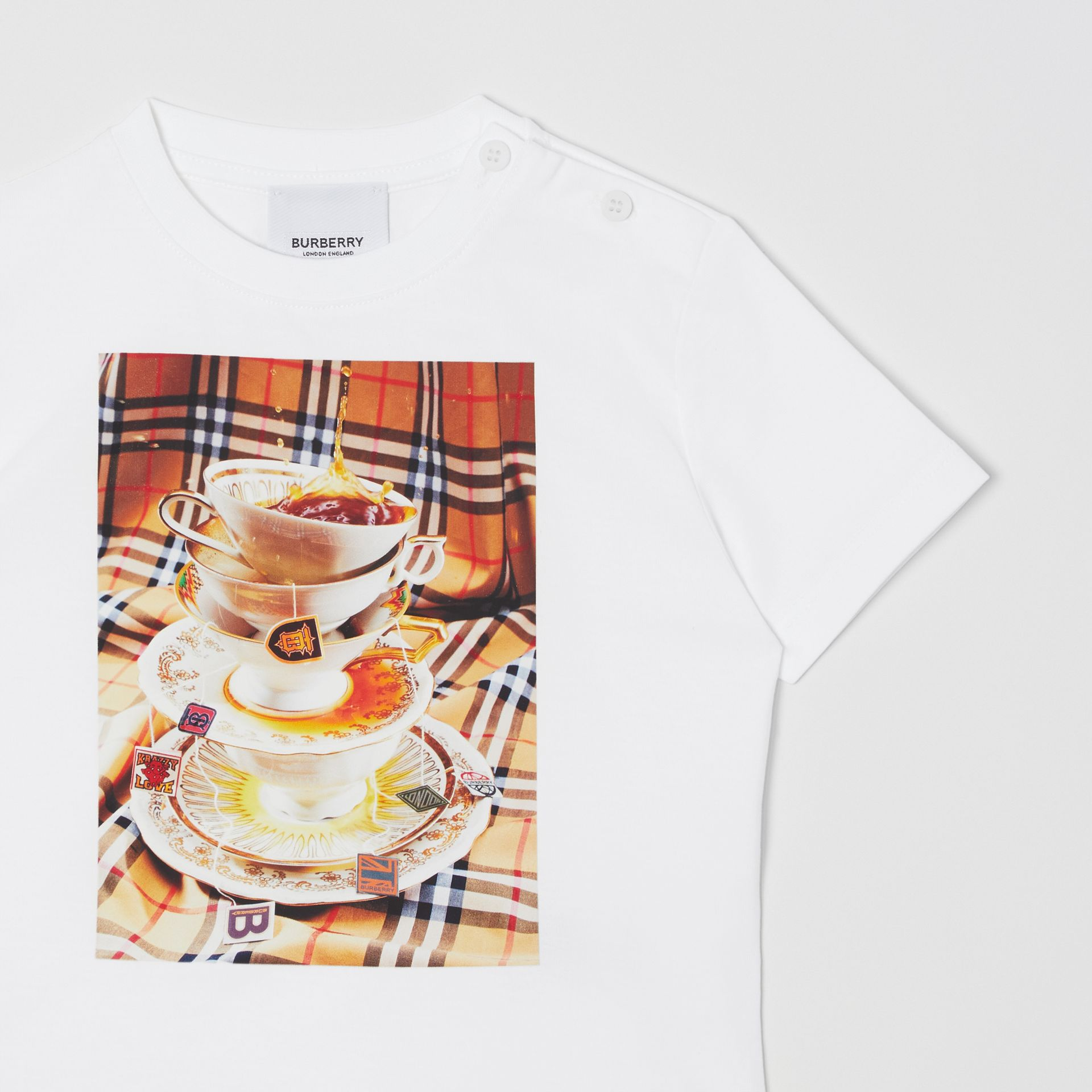 Teacup Print T-shirt in Multicolour - Children | Burberry - gallery image 5
