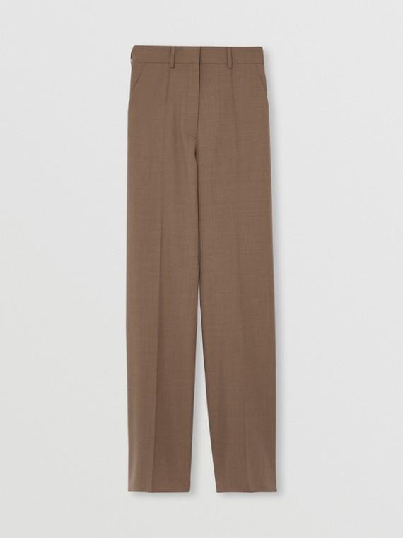 Pantaloni a gamba larga in lana (Marrone Talpa Scuro)