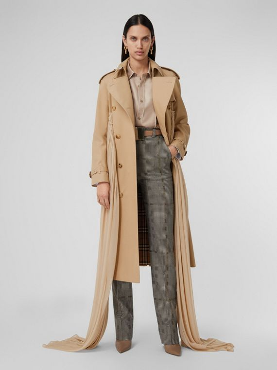 Jersey Sash Detail Cotton Gabardine Trench Coat in Soft Fawn