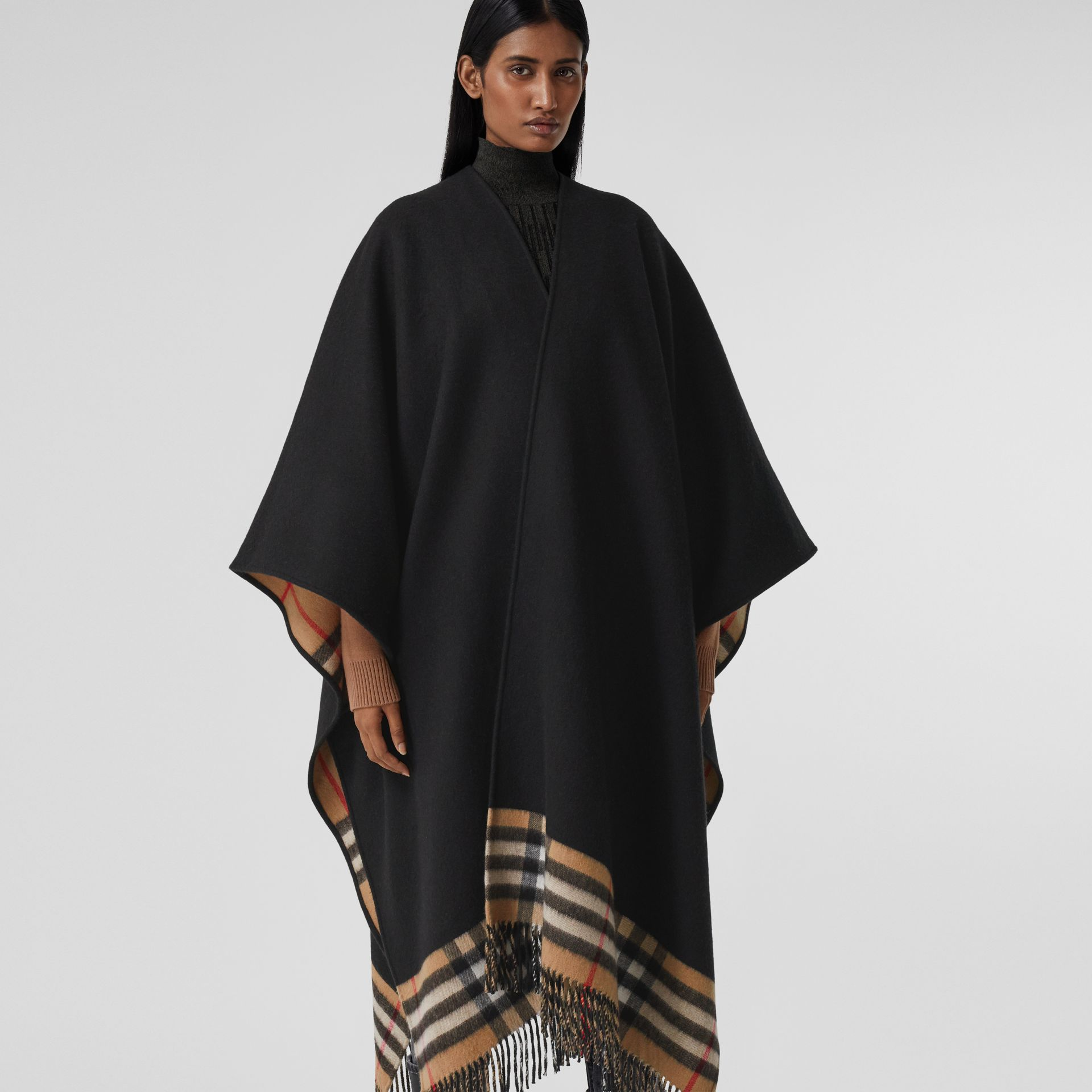 Check-lined Cashmere Merino Wool Cape in Black - Women | Burberry - gallery image 5