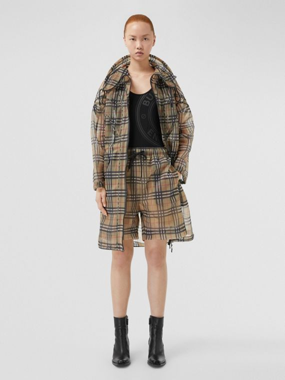 Vintage Check Mesh Shorts in Archive Beige
