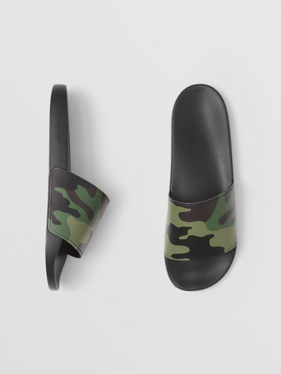 Camouflage Print Slides in Mangrove Green