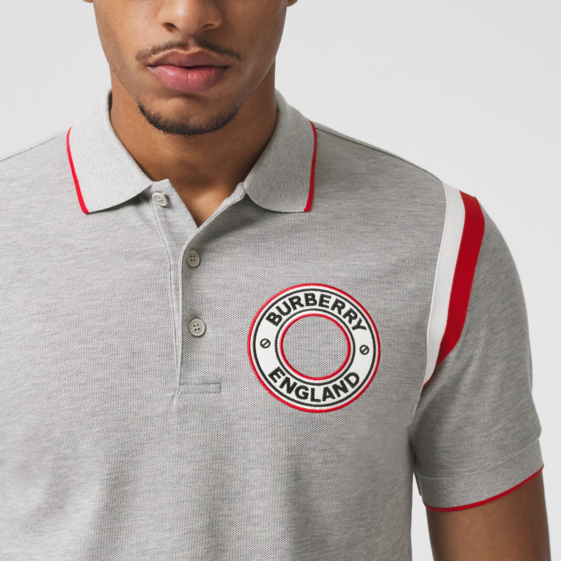 Logo Graphic Appliqué Cotton Piqué Polo Shirt in Pale Grey Melange - Men | Burberry Hong Kong S.A.R. - gallery image 1