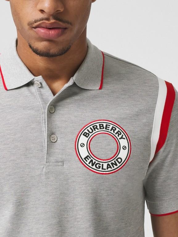 Logo Graphic Appliqué Cotton Piqué Polo Shirt in Pale Grey Melange - Men | Burberry Hong Kong S.A.R. - cell image 1
