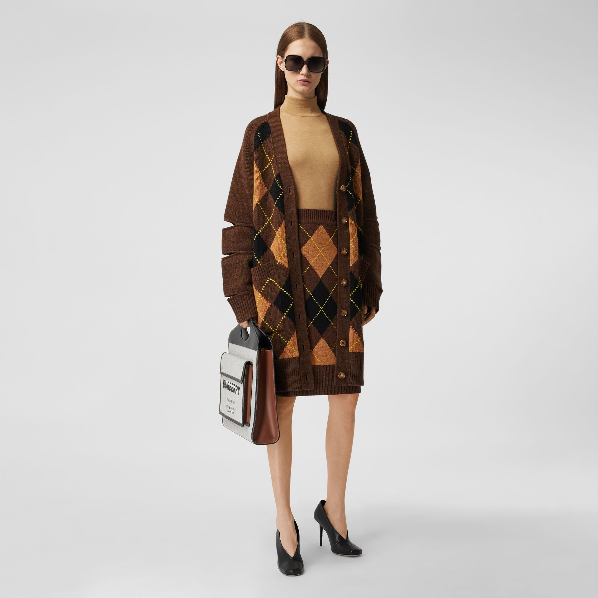 Argyle Intarsia Wool Cashmere Pencil Skirt in Dark Khaki - Women | Burberry - gallery image 4