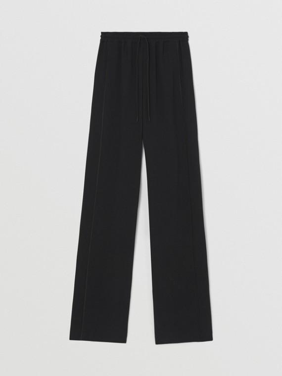 Pantaloni a gamba larga in viscosa (Nero)