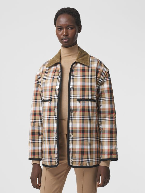 Detachable Sleeve Reversible Logo Graphic Jacket in Natural White - Women   Burberry Hong Kong S.A.R. - cell image 3
