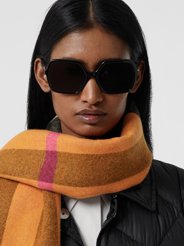 Reversible Check and Logo Cashmere Scarf in Orange | Burberry - cell image 2