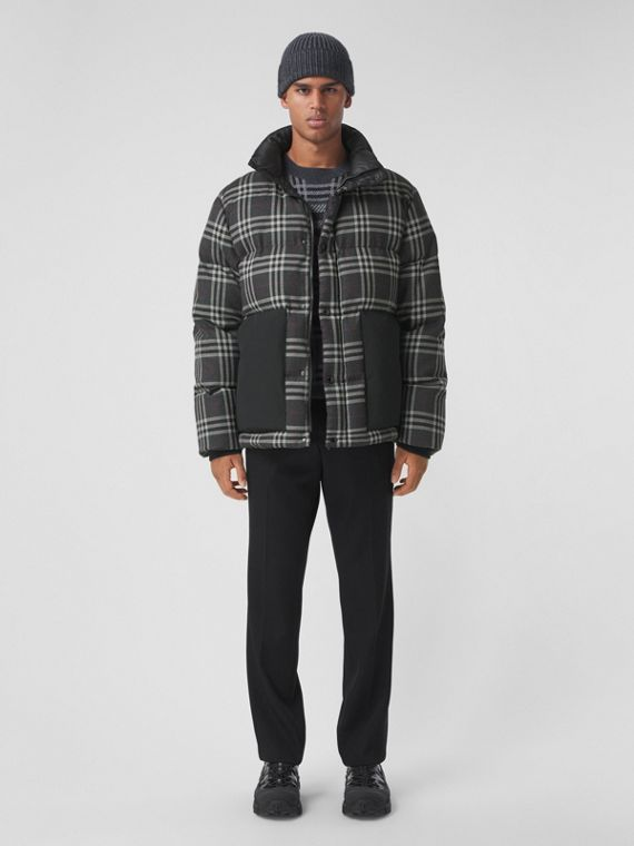 Check Down-filled Wool Jacket in Charcoal