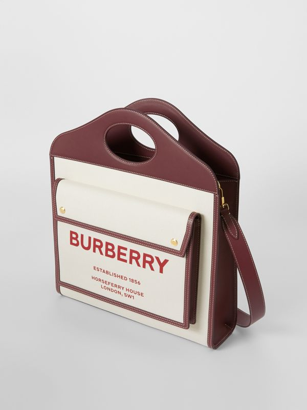 Medium Two-tone Canvas and Leather Pocket Bag in Natural/garnet - Women | Burberry - cell image 3