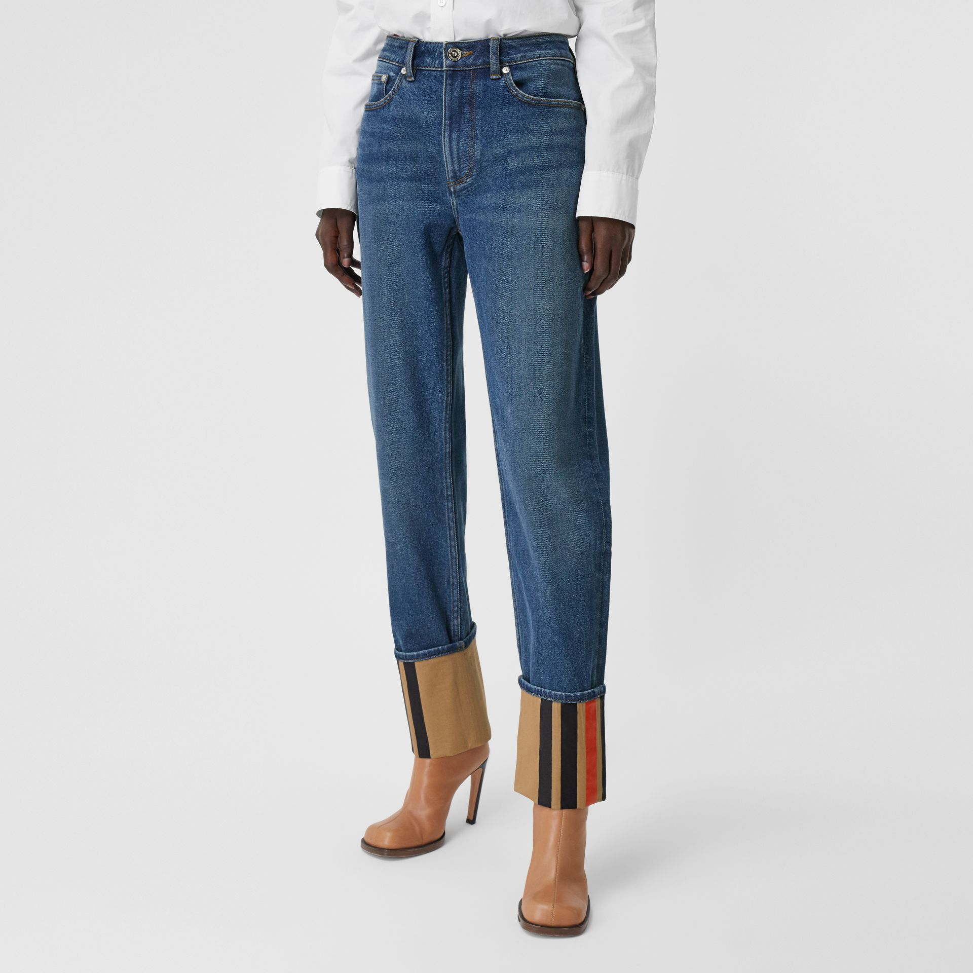 Straight Fit Striped Cuff Washed Jeans in Mid Indigo Blue - Women | Burberry - gallery image 5