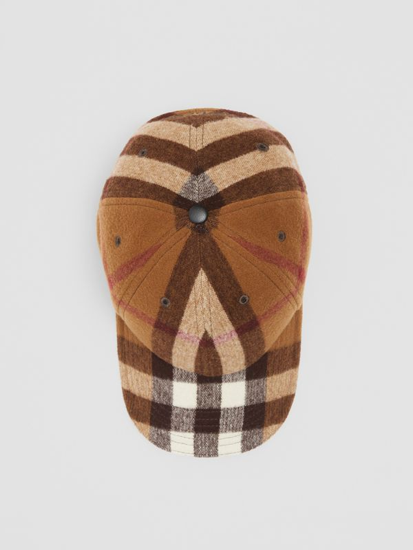 Lambskin Trim Check Wool Baseball Cap in Birch Brown | Burberry - cell image 3