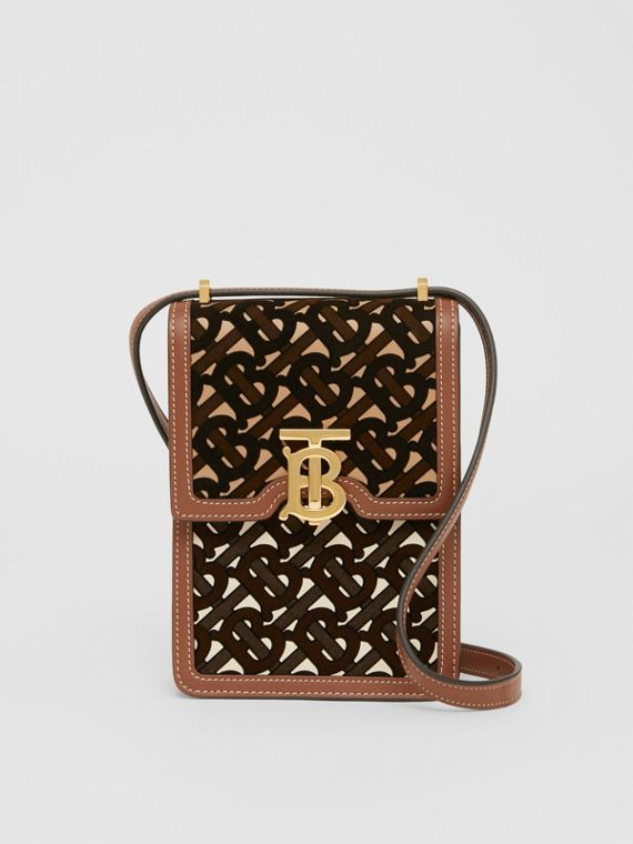 Monogram Flocked Leather Robin Bag in Camel/buttermilk