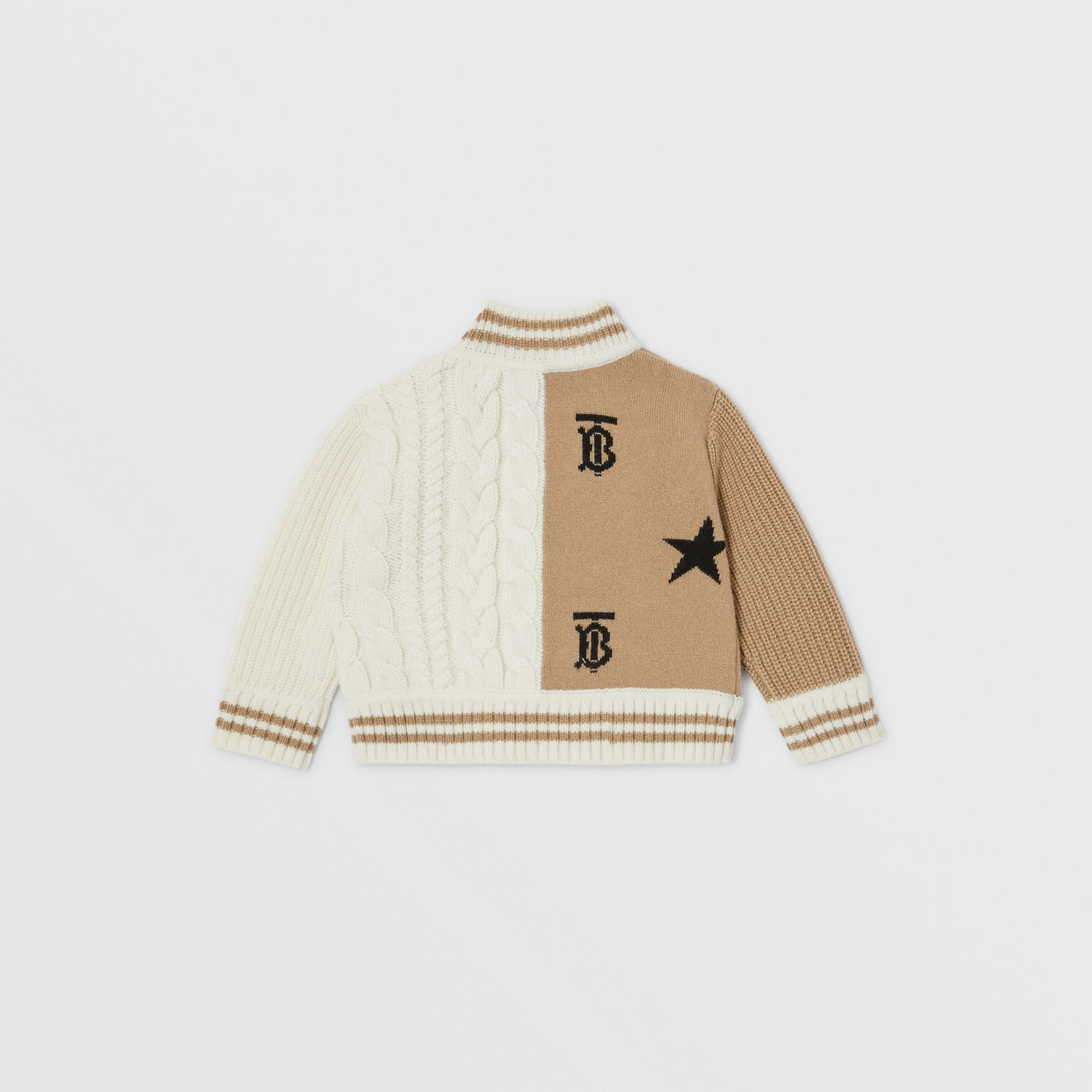 Star and Monogram Motif Wool Cashmere Blend Jacket in Archive Beige - Children | Burberry Canada - gallery image 3
