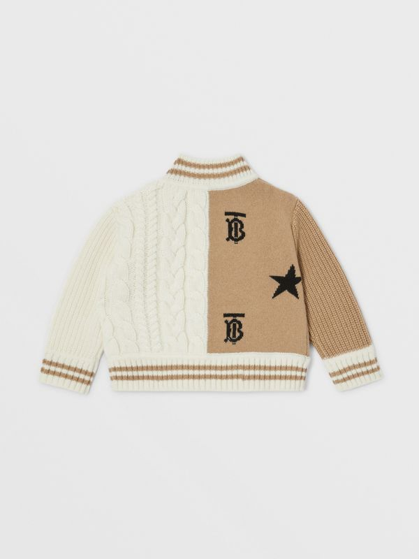Star and Monogram Motif Wool Cashmere Blend Jacket in Archive Beige - Children | Burberry - cell image 3