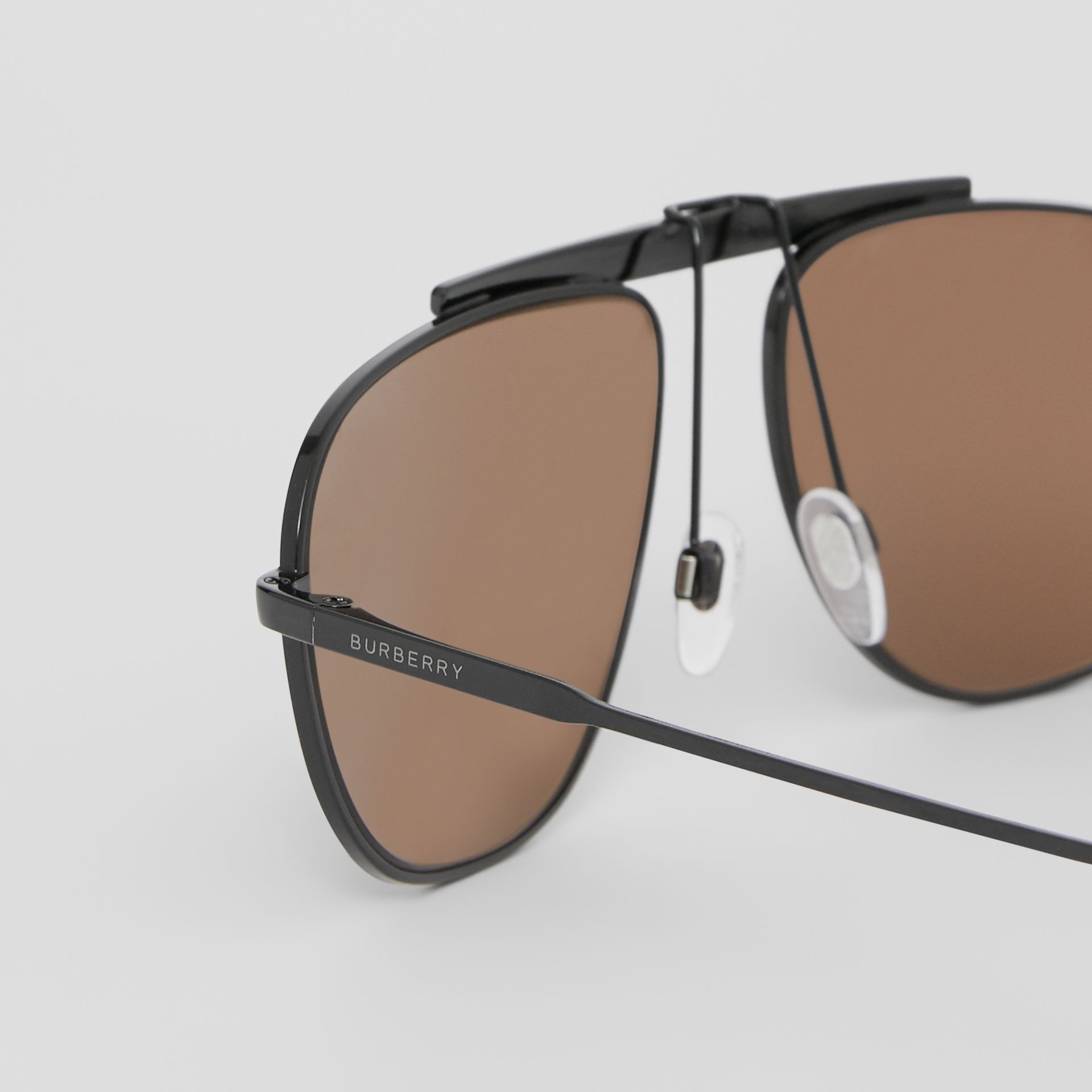 Icon Stripe Detail Pilot Sunglasses in Black - Men | Burberry - gallery image 1