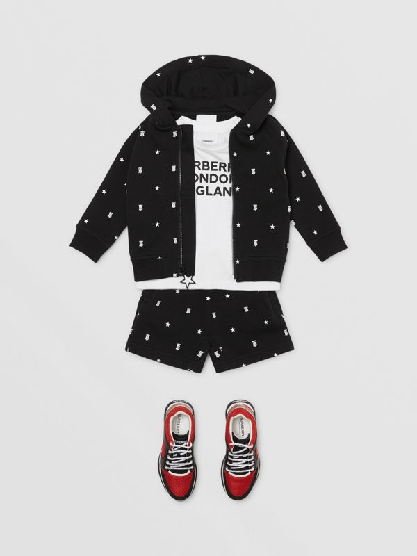 Star and Monogram Motif Cotton Hooded Top in Black - Children | Burberry - cell image 2