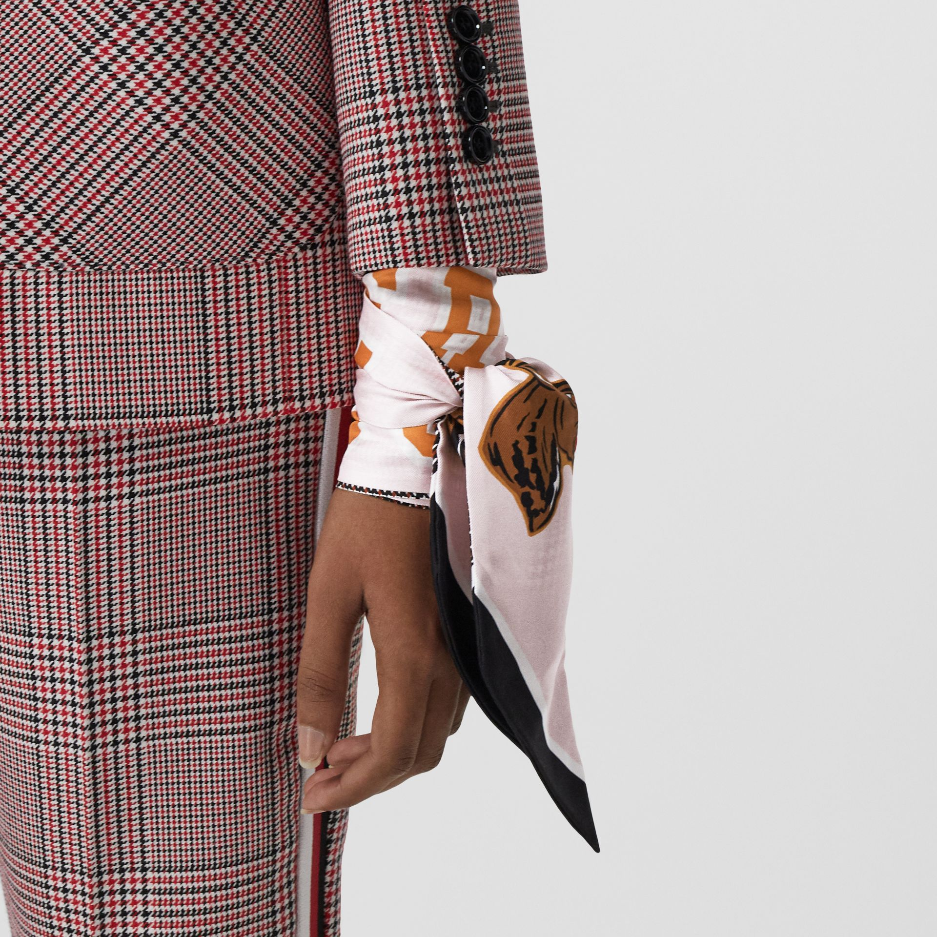 Varsity Graphic and Houndstooth Check Silk Skinny Scarf in Pink | Burberry - gallery image 2