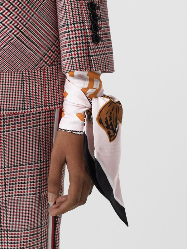 Varsity Graphic and Houndstooth Check Silk Skinny Scarf in Pink | Burberry - cell image 2