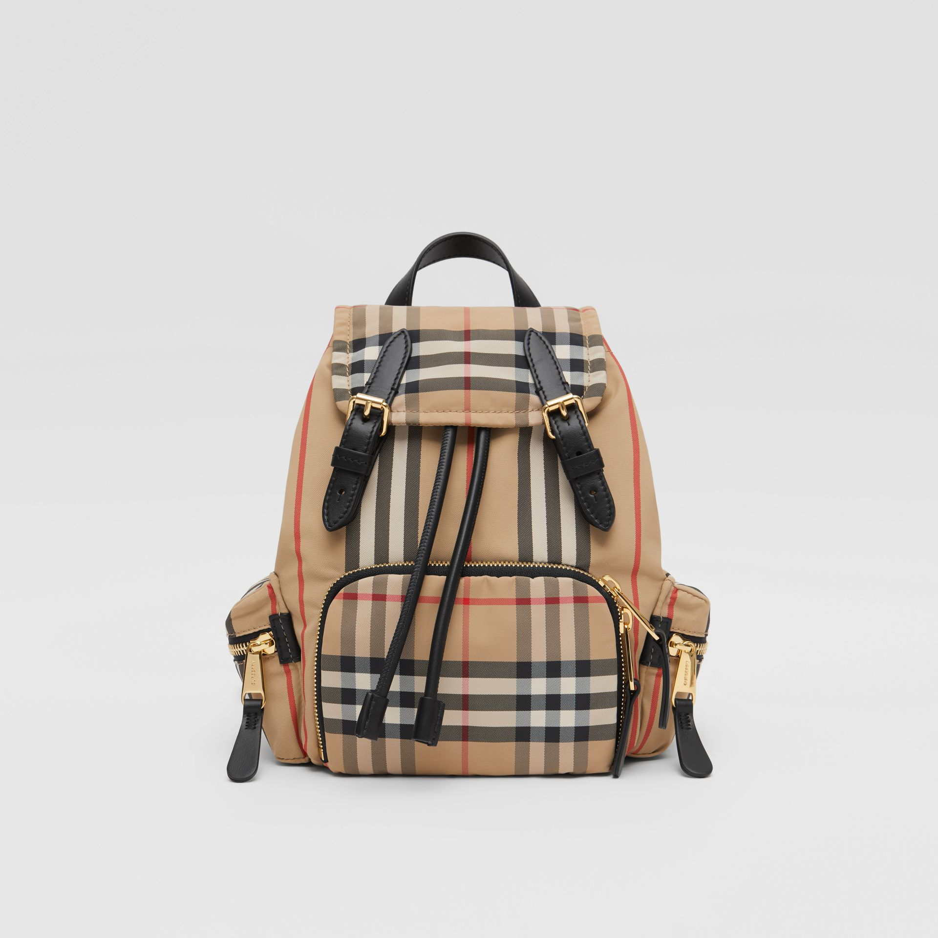 The Small Rucksack in Icon Stripe ECONYL® in Archive Beige - Women | Burberry Australia - gallery image 0
