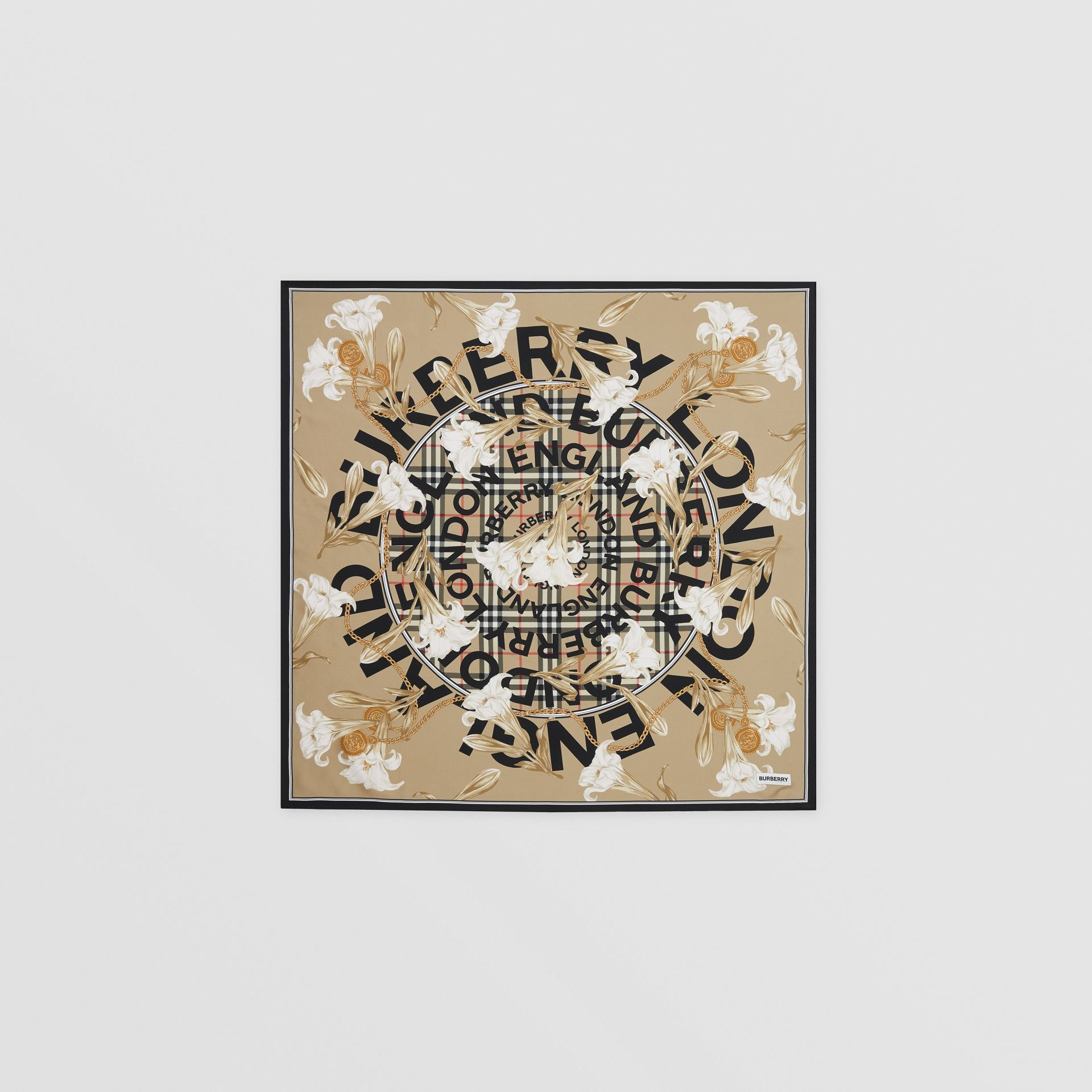 Foulard in seta con motivi d'archivio (Beige) | Burberry - immagine della galleria 0